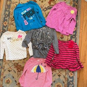 Lot of 6 cotton long sleeve tops 2T